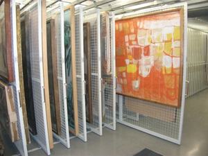 Compact Metal Mobile Art Racking System for Storage