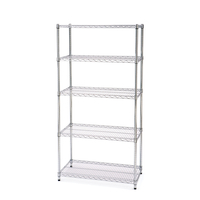 "5 Tier 24"" Zinc Plated Adjustable Mobile Wire Shelving Racking With Wheels NSF Approved"