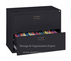 2 Drawers Black Lateral Filing Storage Cabinet With Lock