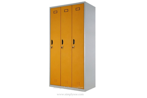 3 Door Lockable Metal Wardrobe Cabinet
