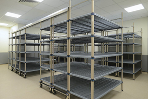 Compact Epoxy Coated Wire shelving with antimicrobial grid polymer shelf