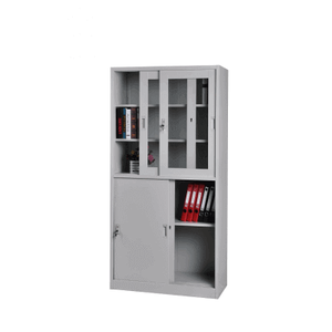 2 Layers Metal Storage Cupboard with Glass Slide Door